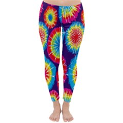 Tie Dye Circle Round Color Rainbow Red Purple Yellow Blue Pink Orange Classic Winter Leggings