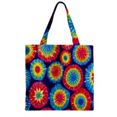 Tie Dye Circle Round Color Rainbow Red Purple Yellow Blue Pink Orange Zipper Grocery Tote Bag by Alisyart