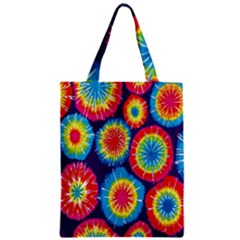 Tie Dye Circle Round Color Rainbow Red Purple Yellow Blue Pink Orange Zipper Classic Tote Bag