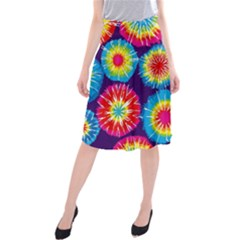 Tie Dye Circle Round Color Rainbow Red Purple Yellow Blue Pink Orange Midi Beach Skirt by Alisyart
