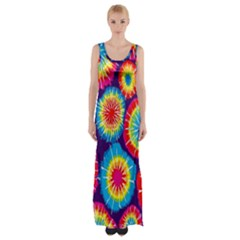 Tie Dye Circle Round Color Rainbow Red Purple Yellow Blue Pink Orange Maxi Thigh Split Dress by Alisyart
