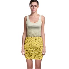 Water Bubbel Foam Yellow White Drink Sleeveless Bodycon Dress by Alisyart