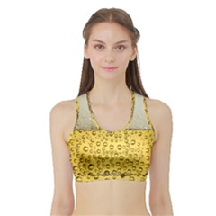 Water Bubbel Foam Yellow White Drink Sports Bra With Border