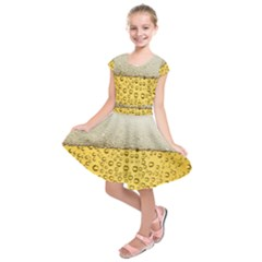 Water Bubbel Foam Yellow White Drink Kids  Short Sleeve Dress by Alisyart