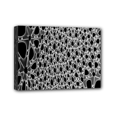 X Ray Rendering Hinges Structure Kinematics Circle Star Black Grey Mini Canvas 7  X 5  by Alisyart