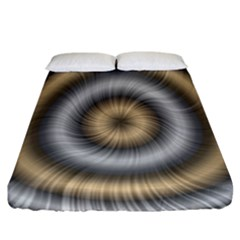 Prismatic Waves Gold Silver Fitted Sheet (california King Size)