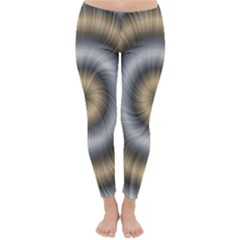Prismatic Waves Gold Silver Classic Winter Leggings