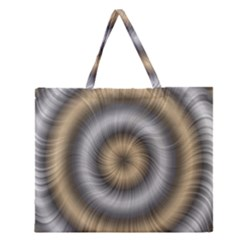 Prismatic Waves Gold Silver Zipper Large Tote Bag