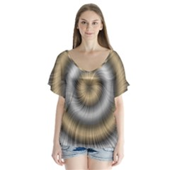 Prismatic Waves Gold Silver Flutter Sleeve Top