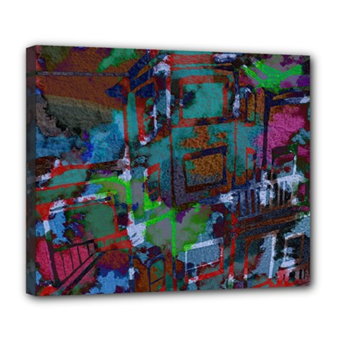 Dark Watercolor On Partial Image Of San Francisco City Mural Usa Deluxe Canvas 24  X 20   by Simbadda