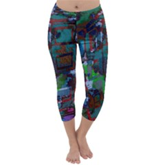 Dark Watercolor On Partial Image Of San Francisco City Mural Usa Capri Winter Leggings