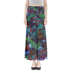 Dark Watercolor On Partial Image Of San Francisco City Mural Usa Maxi Skirts