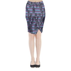 Techno Fractal Wallpaper Midi Wrap Pencil Skirt