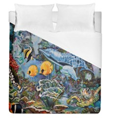 Colorful Aquatic Life Wall Mural Duvet Cover (queen Size) by Simbadda
