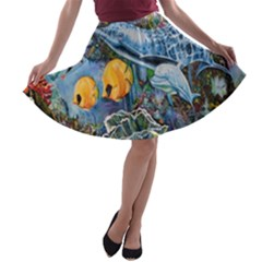 Colorful Aquatic Life Wall Mural A Line Skater Skirt