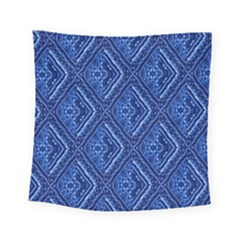 Blue Fractal Background Square Tapestry (small) by Simbadda
