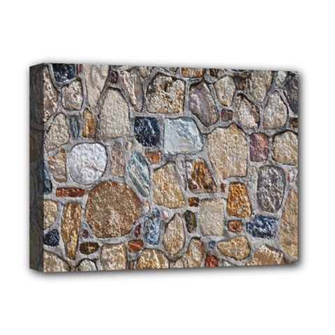 Multi Color Stones Wall Texture Deluxe Canvas 16  X 12   by Simbadda