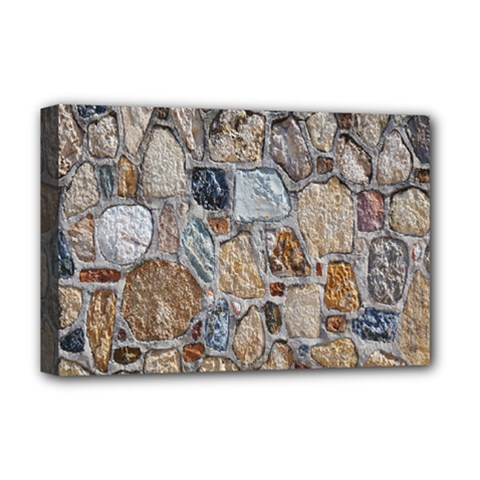 Multi Color Stones Wall Texture Deluxe Canvas 18  X 12   by Simbadda