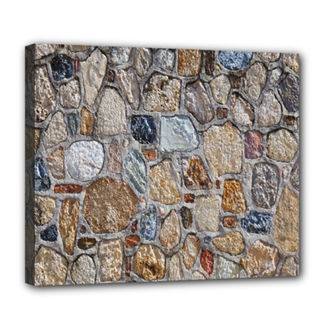 Multi Color Stones Wall Texture Deluxe Canvas 24  X 20   by Simbadda
