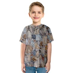 Multi Color Stones Wall Texture Kids  Sport Mesh Tee by Simbadda