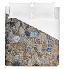Multi Color Stones Wall Texture Duvet Cover (queen Size) by Simbadda