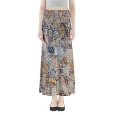 Multi Color Stones Wall Texture Maxi Skirts
