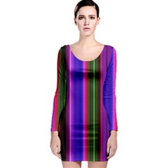 Fun Striped Background Design Pattern Long Sleeve Bodycon Dress