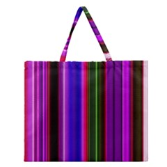 Fun Striped Background Design Pattern Zipper Large Tote Bag by Simbadda