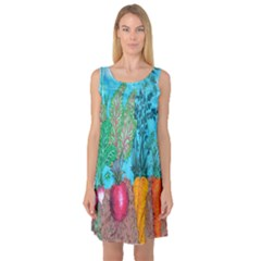 Mural Displaying Array Of Garden Vegetables Sleeveless Satin Nightdress