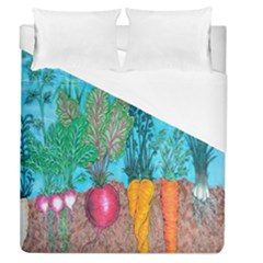 Mural Displaying Array Of Garden Vegetables Duvet Cover (queen Size) by Simbadda