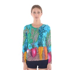Mural Displaying Array Of Garden Vegetables Women s Long Sleeve Tee by Simbadda