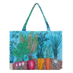 Mural Displaying Array Of Garden Vegetables Medium Tote Bag by Simbadda