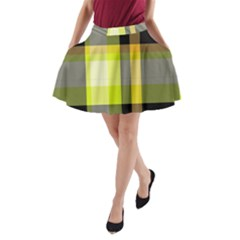 Tartan Pattern Background Fabric Design A Line Pocket Skirt by Simbadda