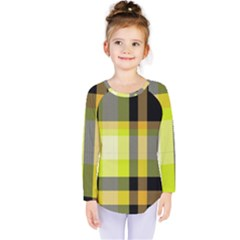 Tartan Pattern Background Fabric Design Kids  Long Sleeve Tee