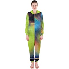 Punctulated Colorful Ground Noise Nervous Sorcery Sight Screen Pattern Hooded Jumpsuit (ladies)