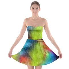 Punctulated Colorful Ground Noise Nervous Sorcery Sight Screen Pattern Strapless Bra Top Dress