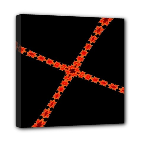Red Fractal Cross Digital Computer Graphic Mini Canvas 8  X 8  by Simbadda