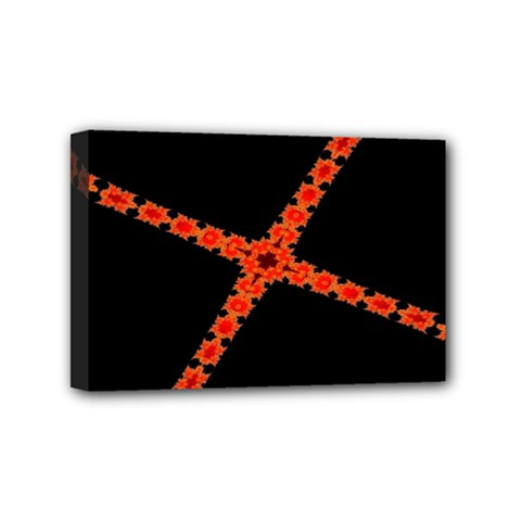 Red Fractal Cross Digital Computer Graphic Mini Canvas 6  X 4  by Simbadda