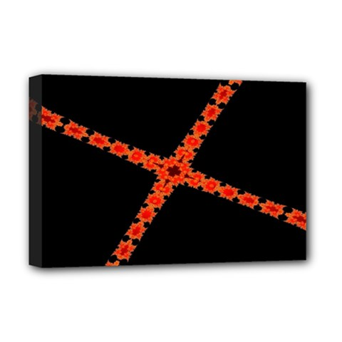 Red Fractal Cross Digital Computer Graphic Deluxe Canvas 18  X 12   by Simbadda
