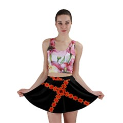 Red Fractal Cross Digital Computer Graphic Mini Skirt