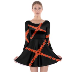 Red Fractal Cross Digital Computer Graphic Long Sleeve Skater Dress by Simbadda