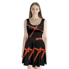 Red Fractal Cross Digital Computer Graphic Split Back Mini Dress