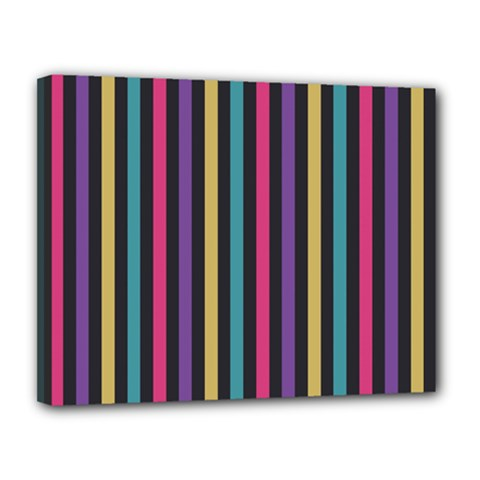 Stripes Colorful Multi Colored Bright Stripes Wallpaper Background Pattern Canvas 14  X 11