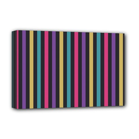 Stripes Colorful Multi Colored Bright Stripes Wallpaper Background Pattern Deluxe Canvas 18  X 12   by Simbadda