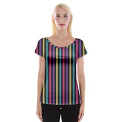 Stripes Colorful Multi Colored Bright Stripes Wallpaper Background Pattern Women s Cap Sleeve Top