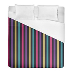 Stripes Colorful Multi Colored Bright Stripes Wallpaper Background Pattern Duvet Cover (full/ Double Size) by Simbadda