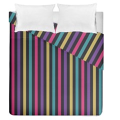 Stripes Colorful Multi Colored Bright Stripes Wallpaper Background Pattern Duvet Cover Double Side (queen Size)