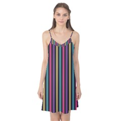 Stripes Colorful Multi Colored Bright Stripes Wallpaper Background Pattern Camis Nightgown by Simbadda