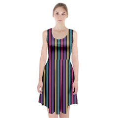 Stripes Colorful Multi Colored Bright Stripes Wallpaper Background Pattern Racerback Midi Dress by Simbadda