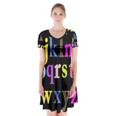 Alphabet Letters Colorful Polka Dots Letters In Lower Case Short Sleeve V Neck Flare Dress by Simbadda